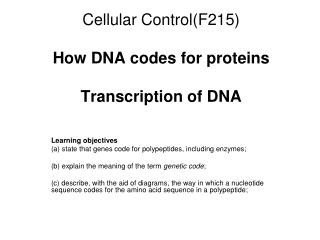 Cellular Control(F215)  How DNA codes for proteins Transcription of DNA