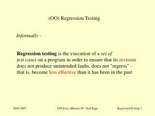 (OO) Regression Testing
