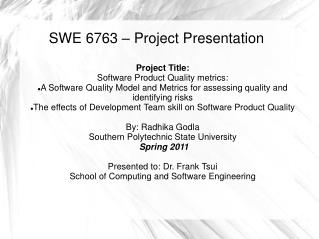 SWE 6763 – Project Presentation