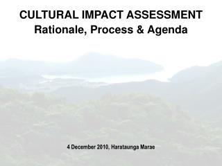 CULTURAL IMPACT ASSESSMENT  Rationale, Process & Agenda  4 December 2010, Harataunga Marae
