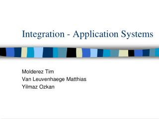 Integration - Application Systems