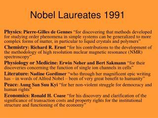 Nobel Laureates 1991