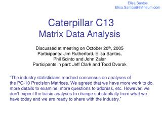 Caterpillar C13  Matrix Data Analysis