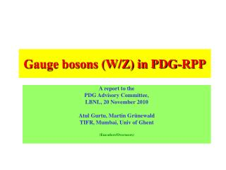Gauge bosons (W/Z) in PDG-RPP