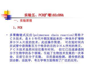 实验五、 PCR 扩增 16SrDNA