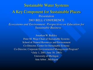 Sustainable Water Systems A Key Component for Sustainable Places