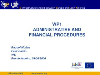 WP1  ADMINISTRATIVE AND FINANCIAL PROCEDURES