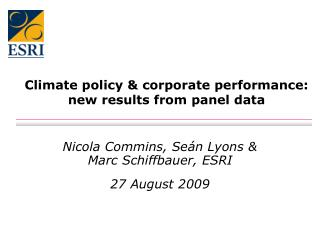 Climate policy & corporate performance: new results from panel data