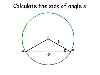 Calculate the size of angle x