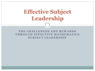 Effective Subject Leadership