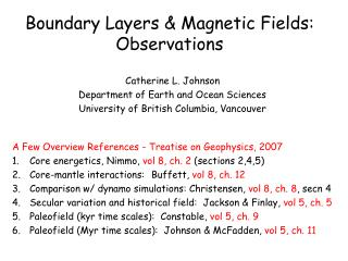 Boundary Layers & Magnetic Fields: Observations
