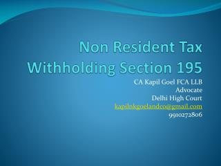 Non Resident Tax Withholding Section 195