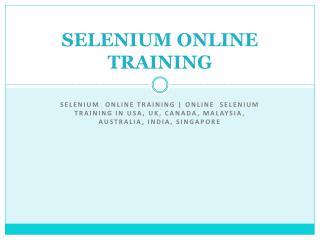 Selenium  online training | Online  Selenium  Training in us