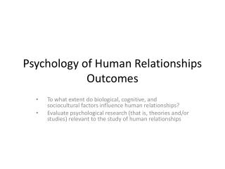 Psychology of Human Relationships Outcomes