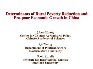 Determinants of Rural Poverty Reduction and Pro-poor Economic Growth in China