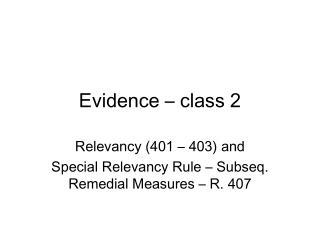 Evidence   class 2