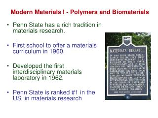 Modern Materials I - Polymers and Biomaterials