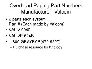 Overhead Paging Part Numbers Manufacturer -Valcom