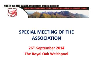 SPECIAL MEETING OF THE ASSOCIATION