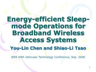 Energy-efficient Sleep-mode Operations for Broadband Wireless Access Systems