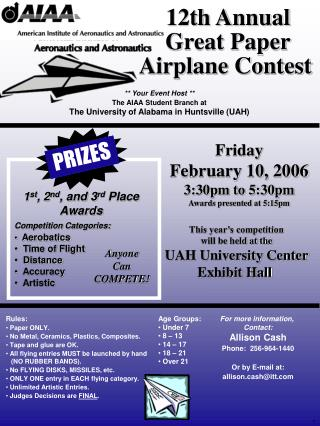 12th Annual Great Paper Airplane Contest