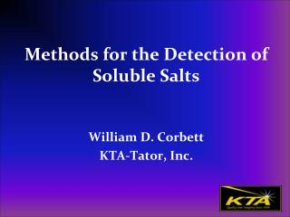 Methods for the Detection of Soluble Salts