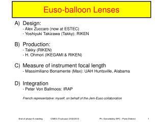 Euso-balloon Lenses