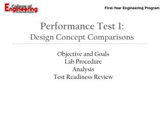 Performance  Test  1: Design Concept Comparisons