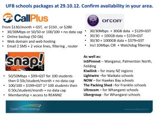 UFB s chools packages at 29.10.12. Confirm availability in your area.