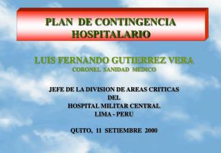 PLAN  DE CONTINGENCIA HOSPITALARIO