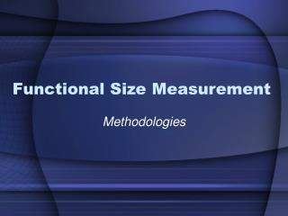 Functional Size Measurement