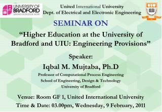 United International University Dept. of Electrical and Electronic Engineering