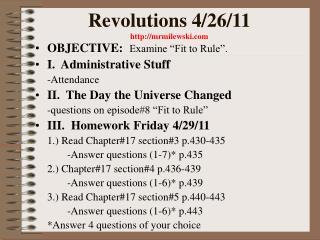 Revolutions 4/26/11 mrmilewski