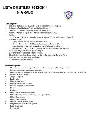 LISTA DE ÚTILES 2013-2014 5º GRADO