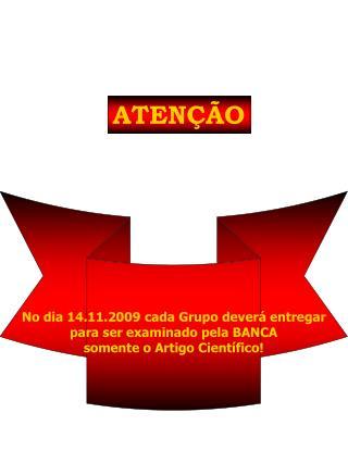 No dia 14.11.2009 cada Grupo deverá entregar para ser examinado pela BANCA