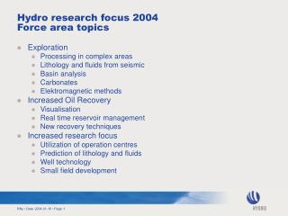 Hydro research focus 2004 Force area topics
