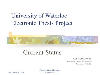 University of Waterloo  Electronic Thesis Project
