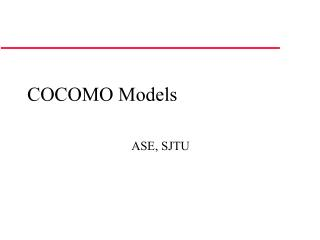 COCOMO Models