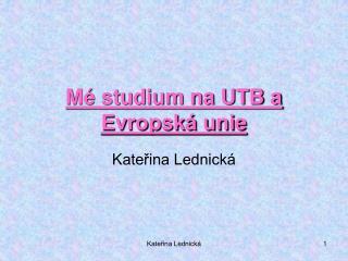 M� studium na UTB a Evropsk� unie