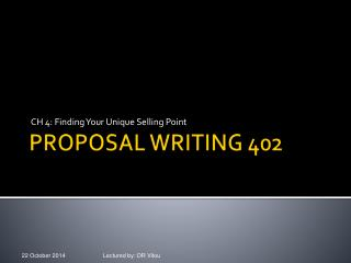 PROPOSAL WRITING 402