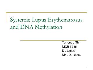 Systemic Lupus Erythematosus and DNA Methylation