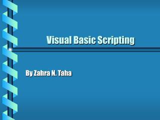 Visual Basic Scripting
