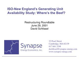 ISO-New England's Generating Unit Availability Study: Where's the Beef?