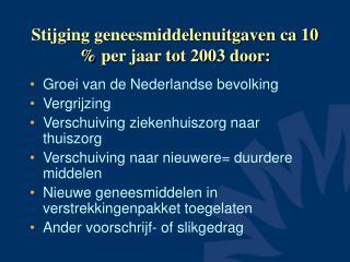 Stijging geneesmiddelenuitgaven ca 10  per jaar tot 2003 door: