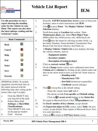 Vehicle List Report