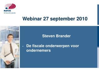 Webinar 27 september 2010