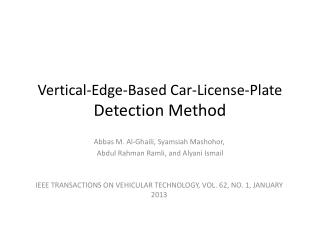 Vertical-Edge-Based Car-License-Plate Detection Method