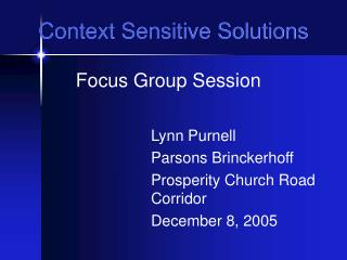 Context Sensitive Solutions