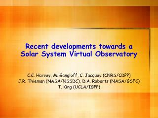 Recent developments towards a  Solar System Virtual Observatory