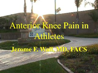 Anterior Knee Pain in Athletes